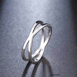Stainless Steel  Criss-Cross Ring
